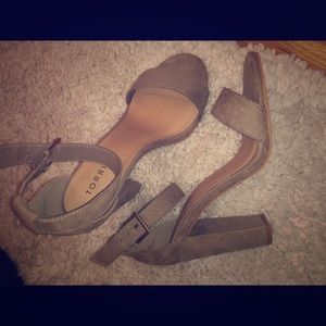 Taupe suede ankle strap heel